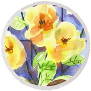 Round Beach Towel featuring the painting Magnolias by Kip DeVore