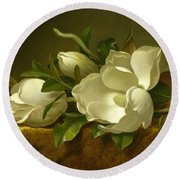 Round Beach Towel featuring the painting Magnolias On Gold Velvet Cloth by Martin Johnson Heade