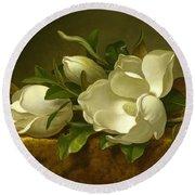 Magnolias On Gold Velvet Cloth Round Beach Towel