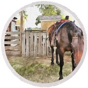 Round Beach Towel featuring the painting Mahaffie Stagecoach Stop And Farm by Liane Wright