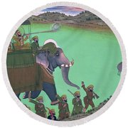Maharana Sarup Singh Of Udaipur Shooting Boar From Elephant-back, Rajasthan, 1855  Round Beach Towel