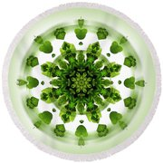 Maidenhair Fern Mandala Round Beach Towel