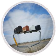 Round Beach Towel featuring the photograph Mailboxes by Erika Weber