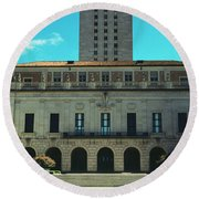 Main Building Of University Of Texas Round Beach Towel by Panoramic Images