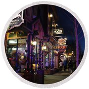 Main Street Breckenridge Colorado Round Beach Towel