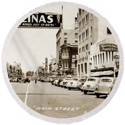 Main Street Salinas California 1941 Round Beach Towel