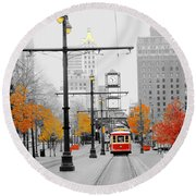 Main Street Trolley  Round Beach Towel