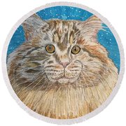 Maine Coon Cat Round Beach Towel by Kathy Marrs Chandler