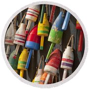 Maine Fishing Buoys Round Beach Towel