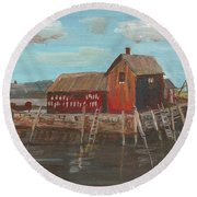 Maine Fishing Shack Round Beach Towel
