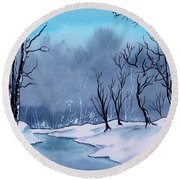 Maine Snowy Woods Round Beach Towel