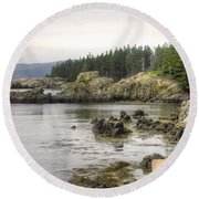 Maine's Beautiful Rocky Shore Round Beach Towel by Denyse Duhaime