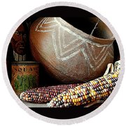 Pottery And Maize Indian Corn Still Life In New Orleans Louisiana Round Beach Towel by Michael Hoard