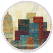Majestic City Round Beach Towel