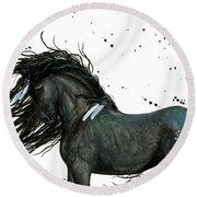 Majestic Friesian Horse 112 Round Beach Towel by AmyLyn Bihrle