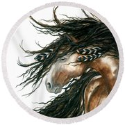 Majestic Pinto Horse 80 Round Beach Towel by AmyLyn Bihrle