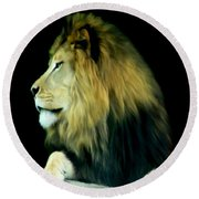 Majestic King Round Beach Towel by Maria Urso