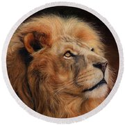 Majestic Lion Round Beach Towel