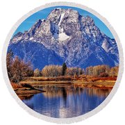 Round Beach Towel featuring the photograph Majestic Moran by Benjamin Yeager