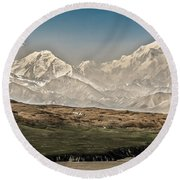 Majestic Mount Mckinley Round Beach Towel