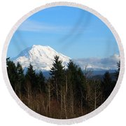 Majestic Mount Rainier Round Beach Towel