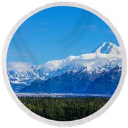 Majestic Mt Mckinley Round Beach Towel