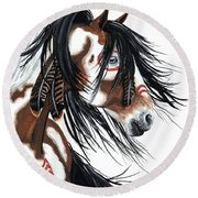 Majestic Pinto Horse Round Beach Towel by AmyLyn Bihrle