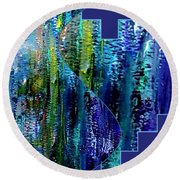 Round Beach Towel featuring the painting Make A Splash With Abstract  by Kimberlee Baxter
