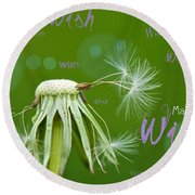 Make A Wish Card Round Beach Towel