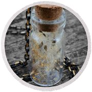 Make A Wish - Dandelion Seed In Glass Bottle With Gold Fairy Dust Necklace Round Beach Towel
