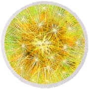 Make A Wish In Greenish Yellow Round Beach Towel