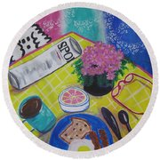 Round Beach Towel featuring the painting Makin' His Move by Diane Pape