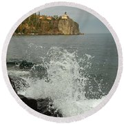 Round Beach Towel featuring the photograph Making A Splash At Split Rock Lighthouse  by James Peterson