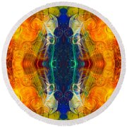 Making Love And Peace Abstract Pattern Artwork By Omaste Witkowski Round Beach Towel
