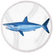 Mako Shark Round Beach Towel by Carey Chen
