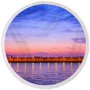 Round Beach Towel featuring the photograph Malaga Pink And Blue Sunrise  by Debra Martz
