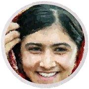 Malala Yousafzai Portrait Round Beach Towel