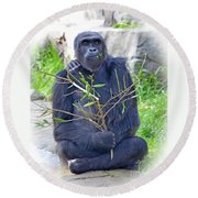 Round Beach Towel featuring the photograph Male Ape by Jim Fitzpatrick