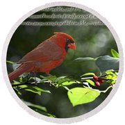 Male Cardinal On Dogwood Branch With Verse Round Beach Towel by Debbie Portwood
