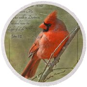 Male Cardinal On Twigs With Bible Verse Round Beach Towel