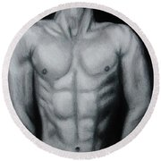 Male Nude Study Round Beach Towel by Michael Cross