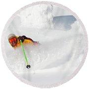 Male Skier Makes A Deep Powder Turn Round Beach Towel
