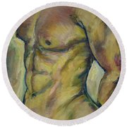 Nude Male Torso Round Beach Towel