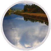 Round Beach Towel featuring the photograph Mallard Duck On Lake In Adirondack Mountains In Autumn by Jerry Cowart