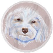 Maltipoo With An Attitude Round Beach Towel