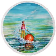 Strolling On The Water Round Beach Towel