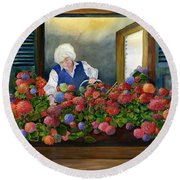 Mama's Window Garden Round Beach Towel