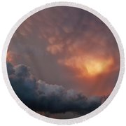 Round Beach Towel featuring the photograph Mammatus At Sunset by Ed Sweeney