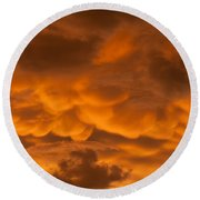 Mammatus Clouds Round Beach Towel