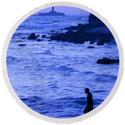 Man And Lighthouse Round Beach Towel